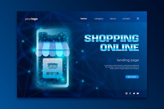 Shopping site web design futuriste en ligne