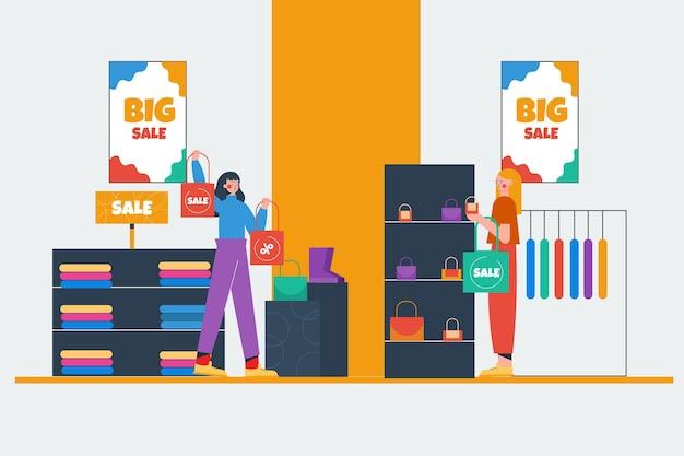 Shopping vente design plat dessiné à la main