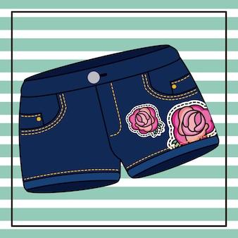 Short en jean patchs de fleurs roses avec fond rayé