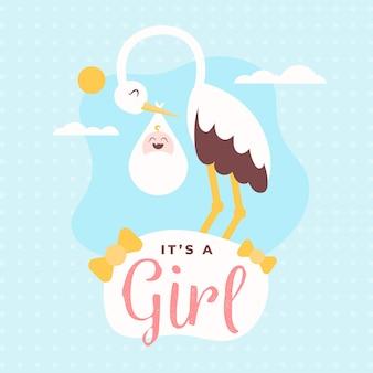 Shower de bébé (fille) avec cigogne