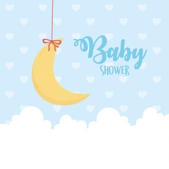 Shower de bébé, haning nuages de demi-lune en pointillé illustration de fond bleu