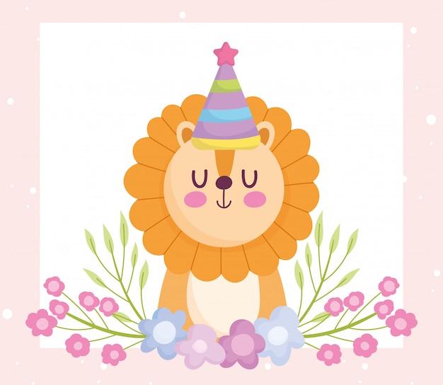 Shower de bébé, lion mignon avec chapeau de fête et dessin animé de fleurs, annonce la carte de bienvenue du nouveau-né