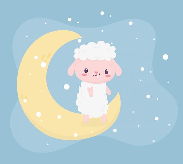 Shower de bébé mignon petit mouton assis dans la carte de la lune