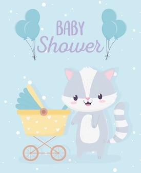 Shower de bébé mignon petit raton laveur avec landau et carte de ballons