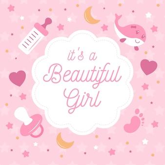 Shower de bébé pour fille avec tétine et coeurs