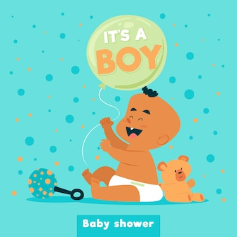 Shower de bébé pour garçon avec bébé mignon