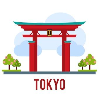Showplace illustration avec tous les bâtiments célèbres. bannière linéaire.