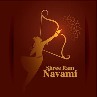 Shree ram navami festival hindou carte de voeux décorative avec arc et flèche