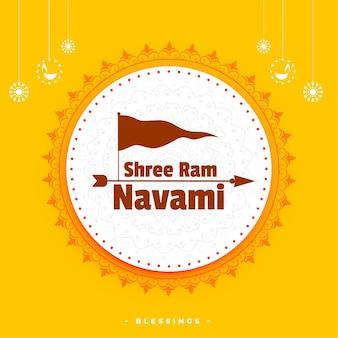 Shree ram navami festival hindou carte de voeux décorative avec drapeau