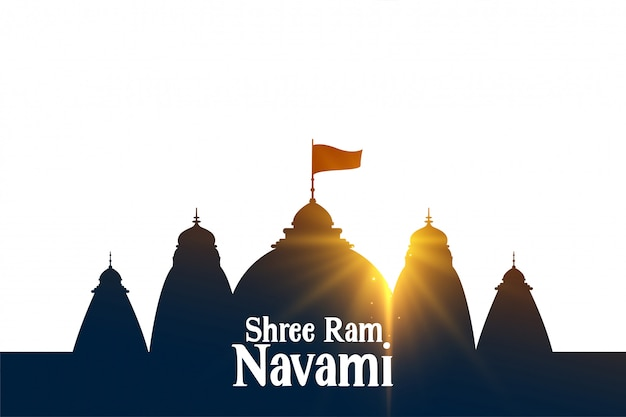 Shree ram navami souhaite carte avec temple et rayons du péché