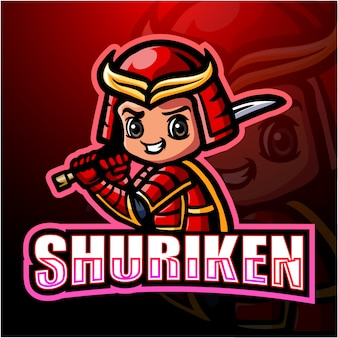 Shuriken ninja mascotte esport illustration