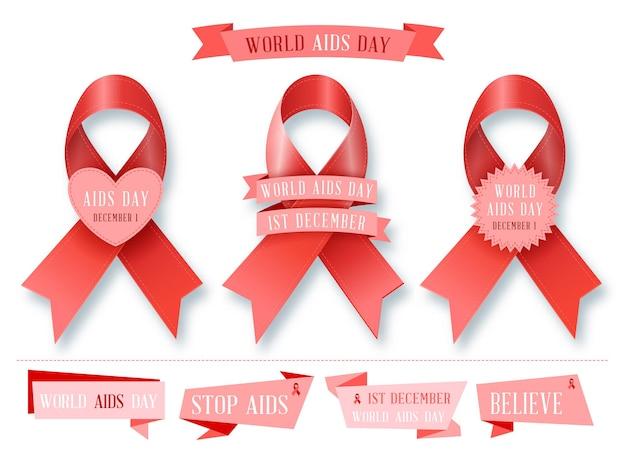 Sida - collection de ruban. ensemble. arrêter le jeu de signes de sida.