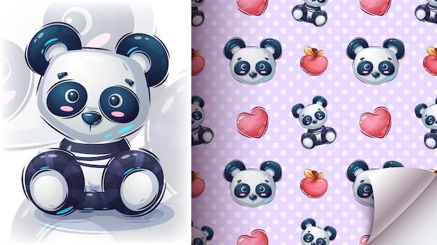Siège teddy panda - motif sans couture.