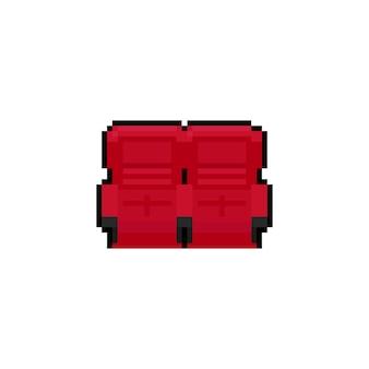 Sièges de cinéma rouge pixel art dessin animé.