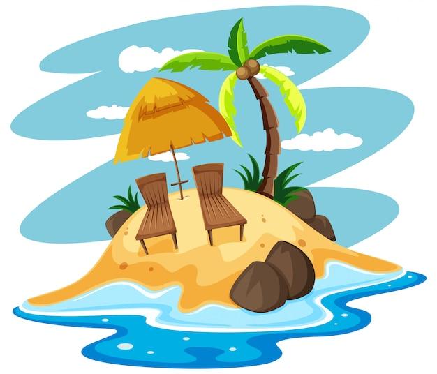Sièges sur une île privée