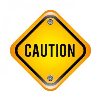 Signal d'avertissement sur illustration vectorielle fond noir blanc