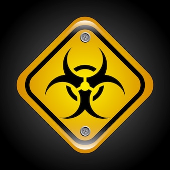 Signal de biohazard sur illustration vectorielle fond noir