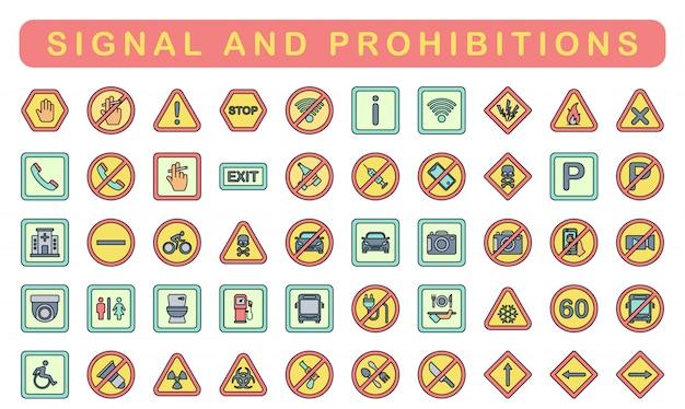 Signal et interdictions, style de couleur linéaire