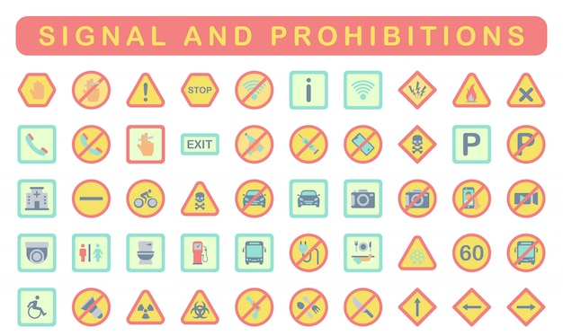 Signal et interdictions, style plat