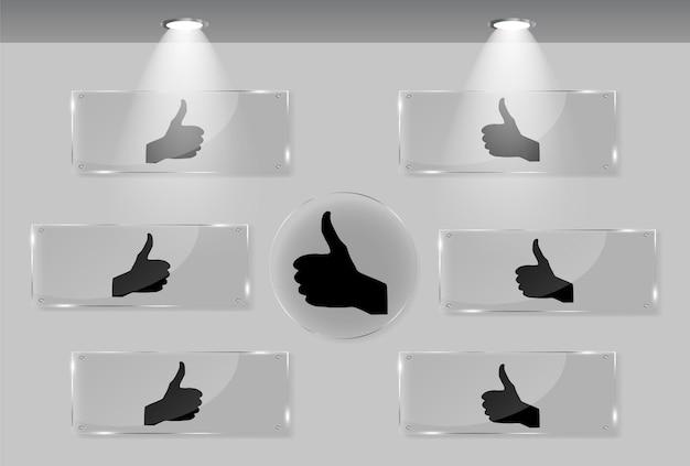 Signal de la main sur les cadres blancs dans l'illustration vectorielle de la galerie d'art.
