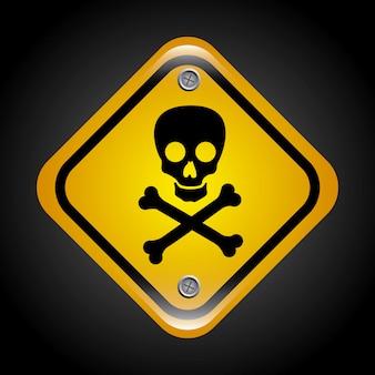 Signal de poison sur illustration vectorielle fond noir