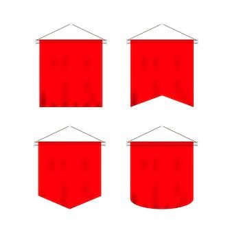 Signal rouge long sport fanions publicitaires bannières échantillons sur poteau support support piédestal ensemble réaliste.