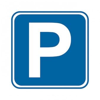 Signal de stationnement sur illustration vectorielle fond blanc