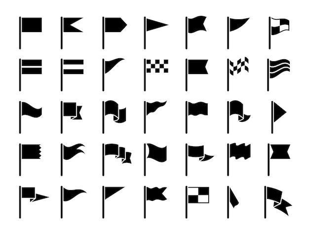 Signalez les symboles noirs. commencer les drapeaux de sport marquant des cartes gps ensemble de collection de fanions d'icônes.