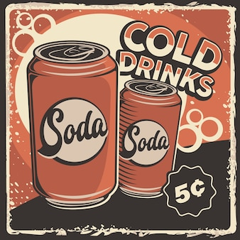 Signalisation de boissons gazeuses froides rétro rustique classique