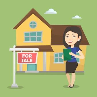 Signature d'un contrat par un agent immobilier.