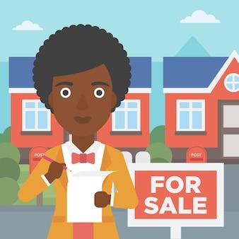 Signature du contrat d'agent immobilier.