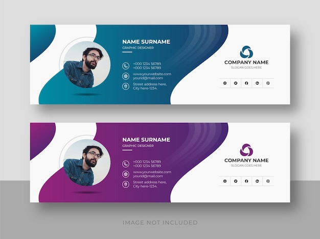 Signature d'e-mail ou pied de page d'e-mail et modèle de conception de couverture facebook de médias sociaux personnels