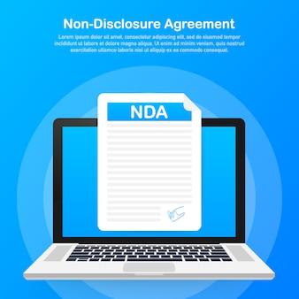 Signature nda. document d'accord de non-divulgation.