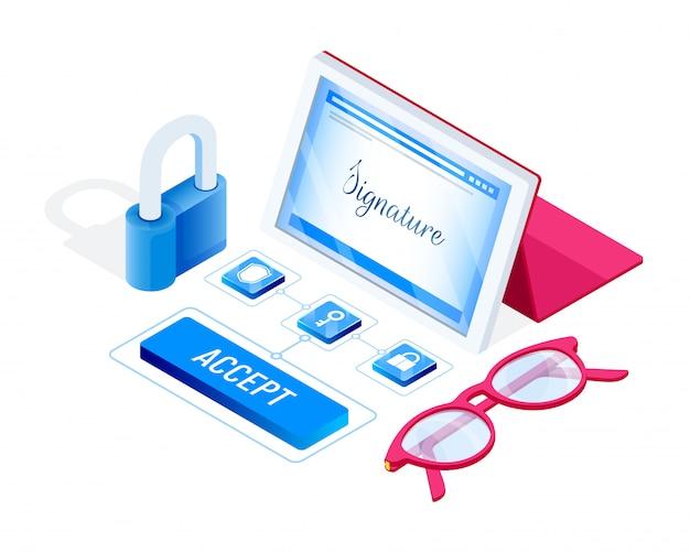 Signature numérique. clé virtuelle des données personnelles. illustration en style isométrique.