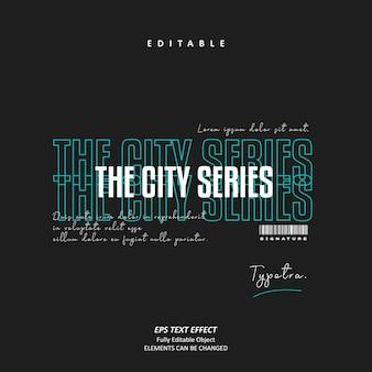 La signature de la série city glitch effet de texte urbain tosca vecteur premium modifiable