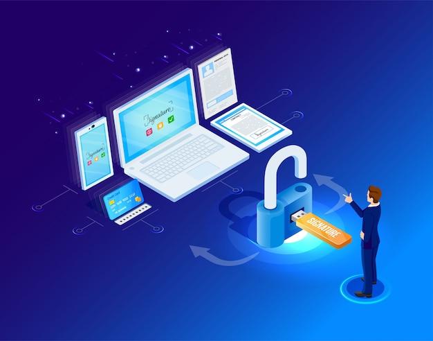 Signature virtuelle. accès numérique aux données personnelles. illustration en style isométrique.