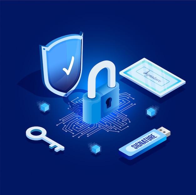 Signature virtuelle. clé numérique des données personnelles. illustration en style isométrique.
