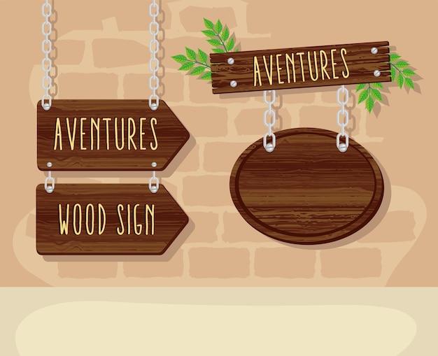 Signaux en bois suspendus