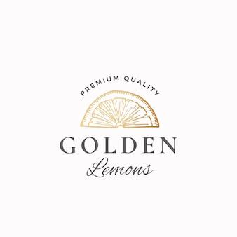Signe abstrait de citrons d'or, symbole ou logo