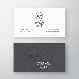Signe abstrait de crâne étrange ou modèle de logo et de carte de visite.