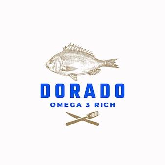 Signe abstrait de poisson doré riche en oméga 3