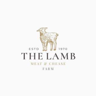 Le signe abstrait de la viande d'agneau et de la ferme chease