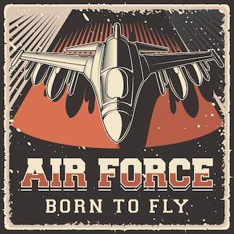 Signe d'affiche d'avion de l'armée de l'air vintage grunge rustique rétro de l'armée de l'air