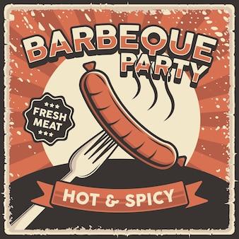 Signe d'affiche de barbecue sosis vintage rétro