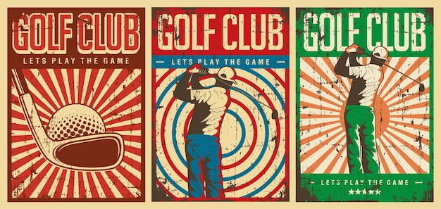 Signe d'affiche de club de golf vintage rétro
