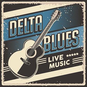 Signe d'affiche de musique live rétro vintage delta blues