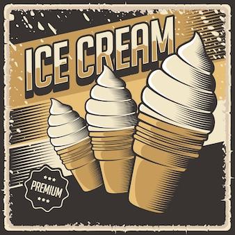 Signe d'affiche rétro vintage de crème glacée