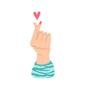 Signe d'amour coréen de vecteur coeur de doigt de geste de main