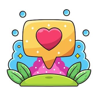 Signe d'amour avec dessin animé coloré.