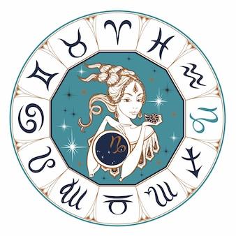 Le signe astrologique du capricorne comme une belle fille.